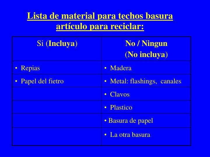 Lista de material para techos basura artículo para reciclar: