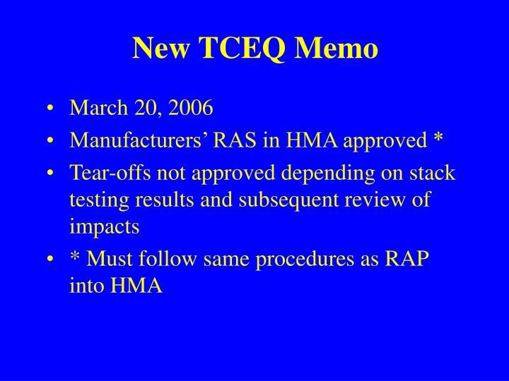 New TCEQ Memo
