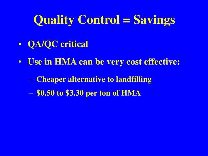 Quality Control = Savings