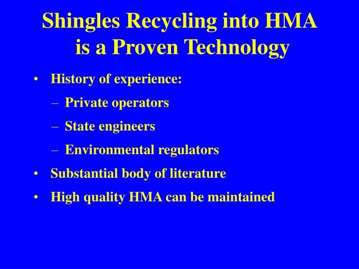 Shingles Recycling into HMA