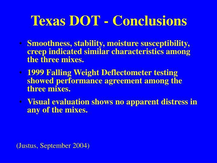 Texas DOT - Conclusions