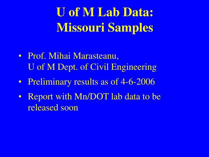 U of M Lab Data: