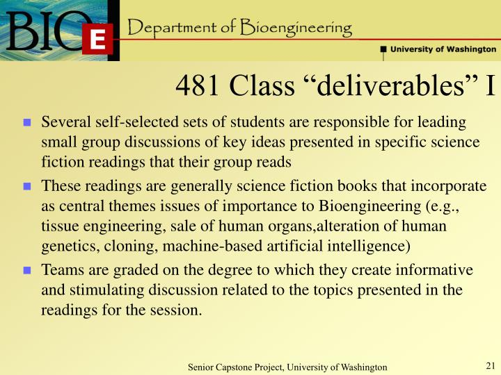 """481 Class """"deliverables"""" I"""