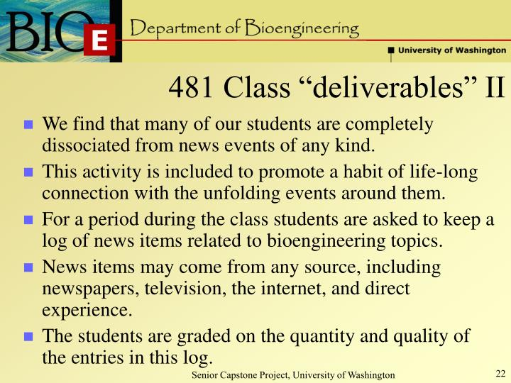 "481 Class ""deliverables"" II"