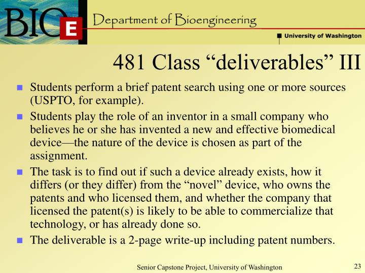 """481 Class """"deliverables"""" III"""