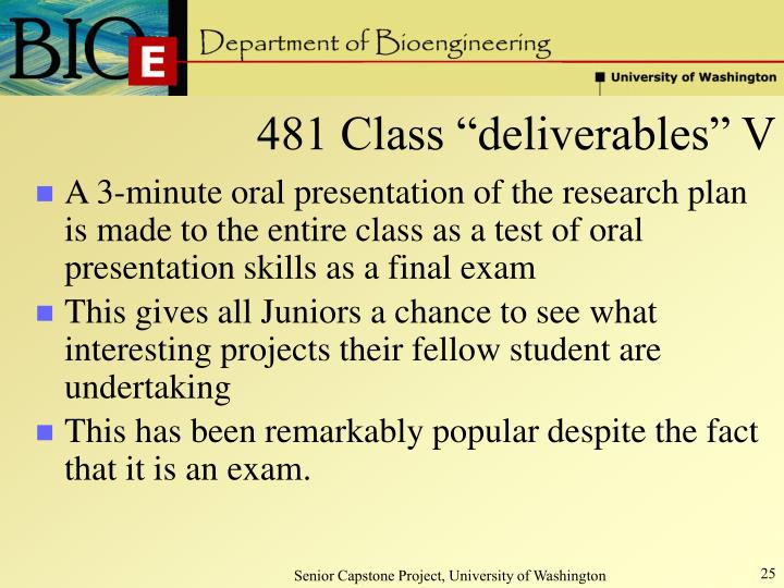 "481 Class ""deliverables"" V"
