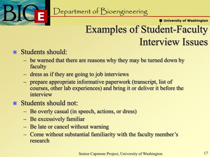 Examples of Student-Faculty Interview Issues