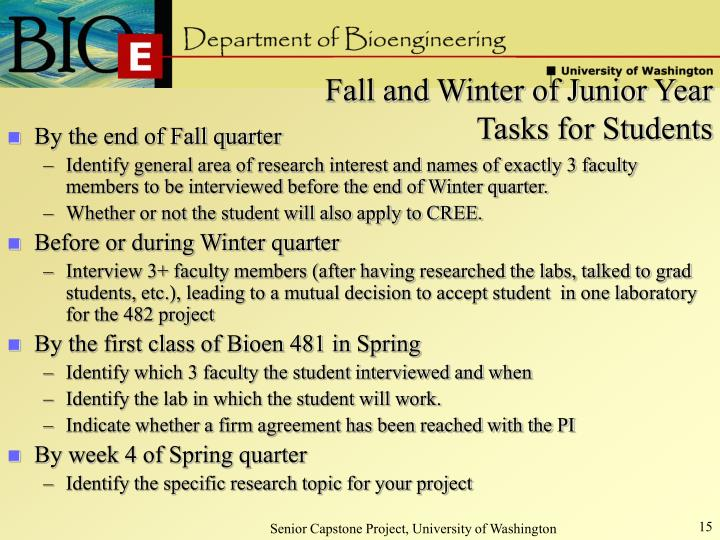 Fall and Winter of Junior Year Tasks for Students