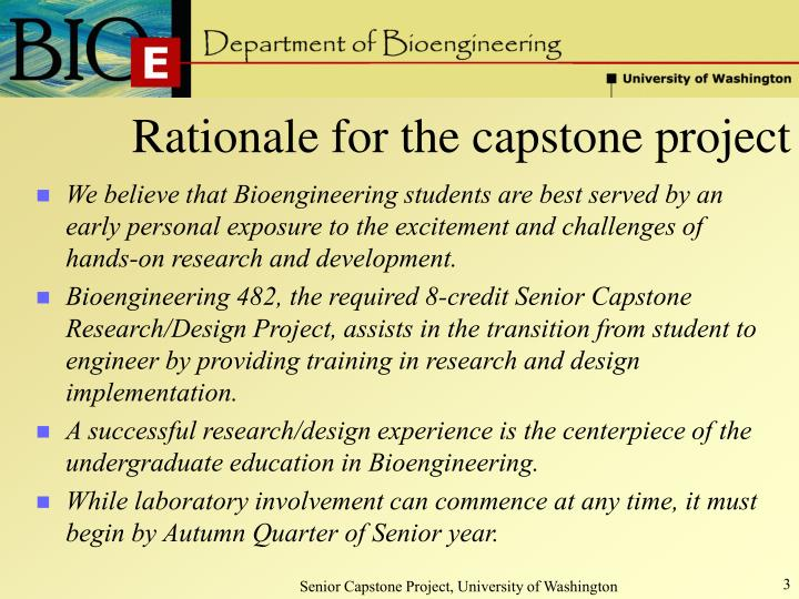 Rationale for the capstone project