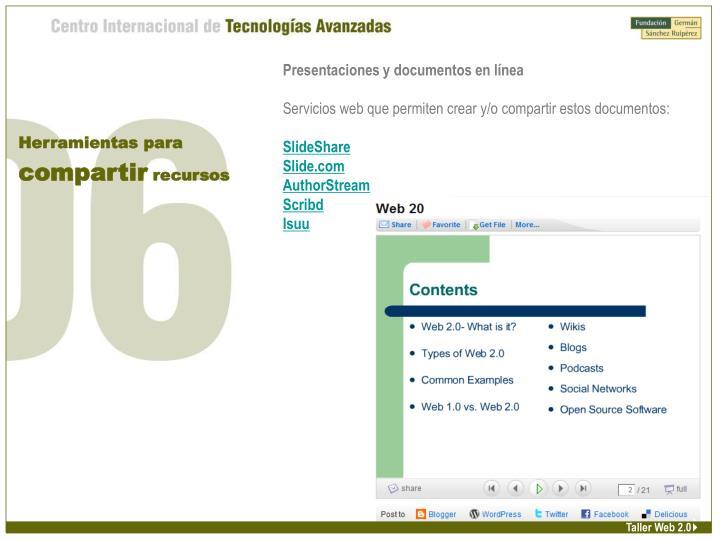Presentaciones y documentos en línea