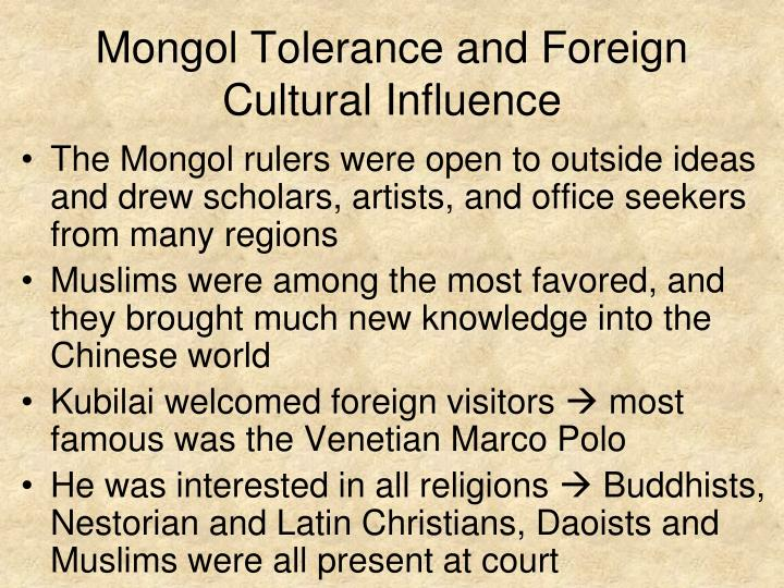Mongol Tolerance and Foreign Cultural Influence