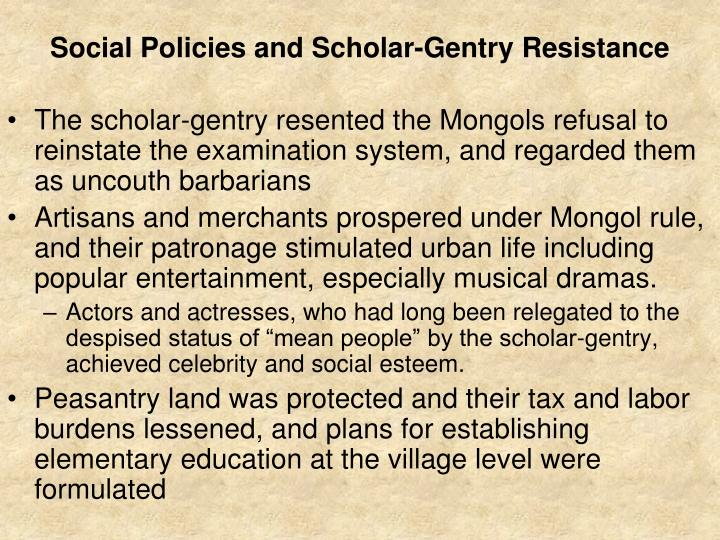 Social Policies and Scholar-Gentry Resistance
