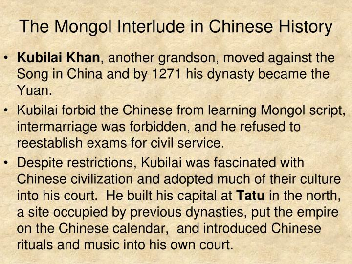 The Mongol Interlude in Chinese History