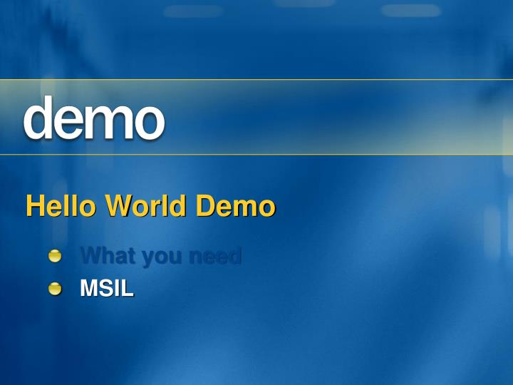 Hello World Demo