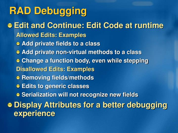 RAD Debugging