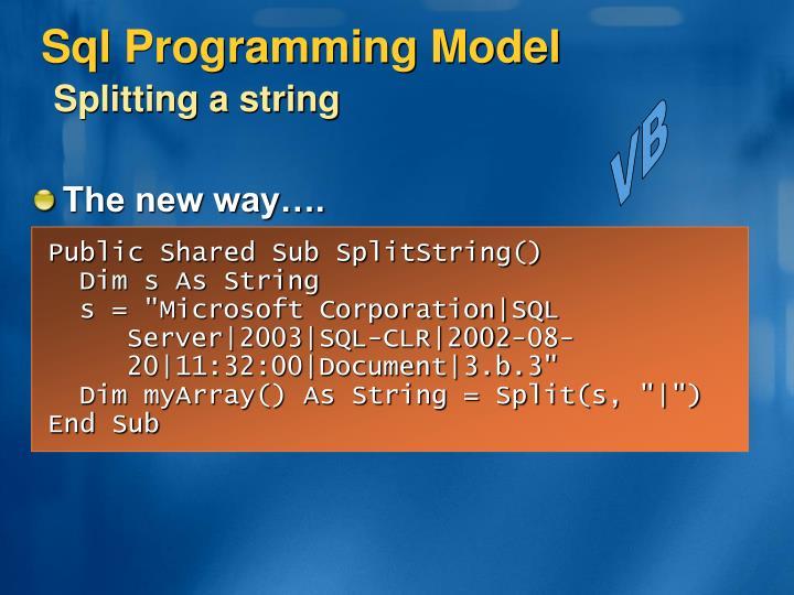 Sql Programming Model