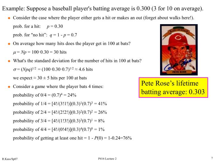 Example: Suppose a baseball player's batting average is 0.300 (3 for 10 on average).