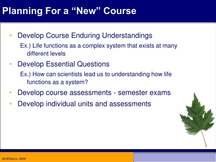 "Planning For a ""New"" Course"