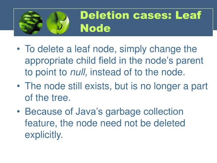Deletion cases: Leaf Node