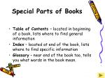 special parts of books