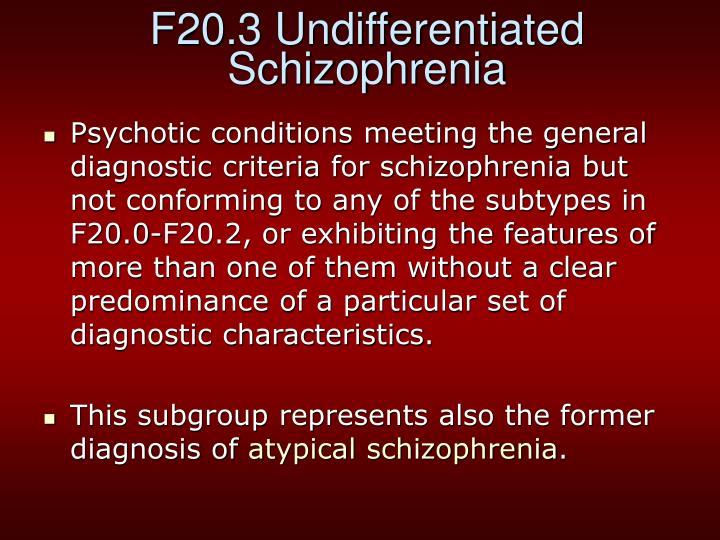 F20.3 Undifferentiated Schizophrenia