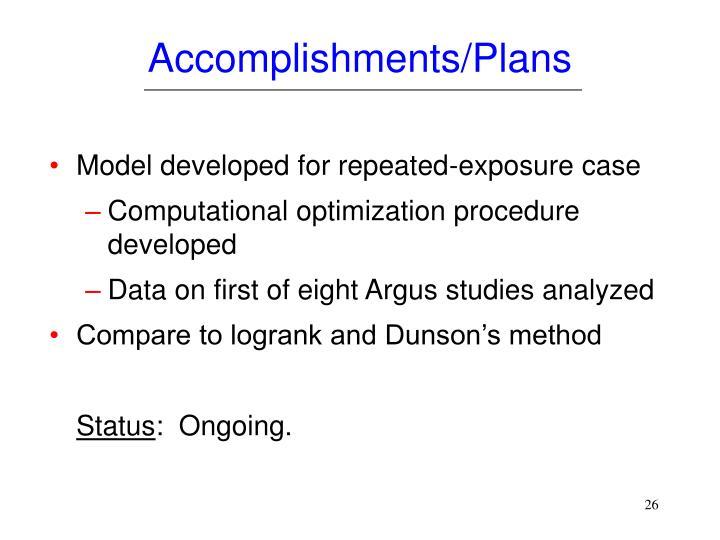 Accomplishments/Plans