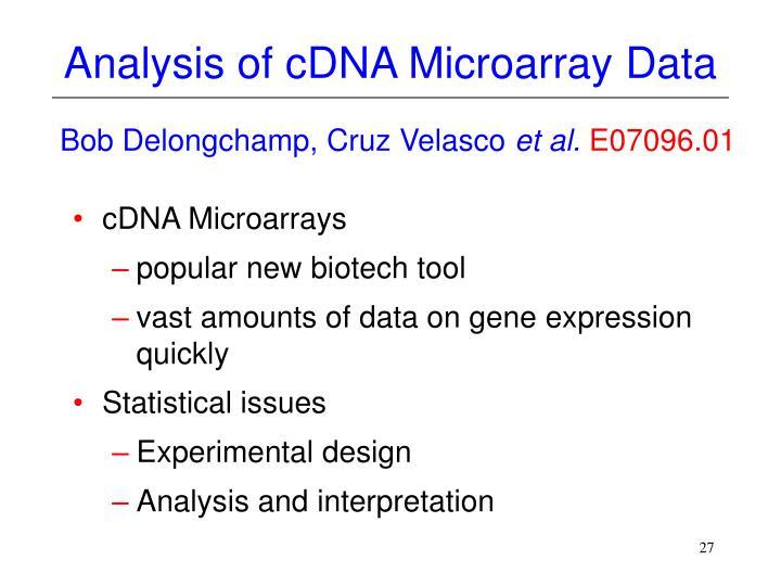 Analysis of cDNA Microarray Data