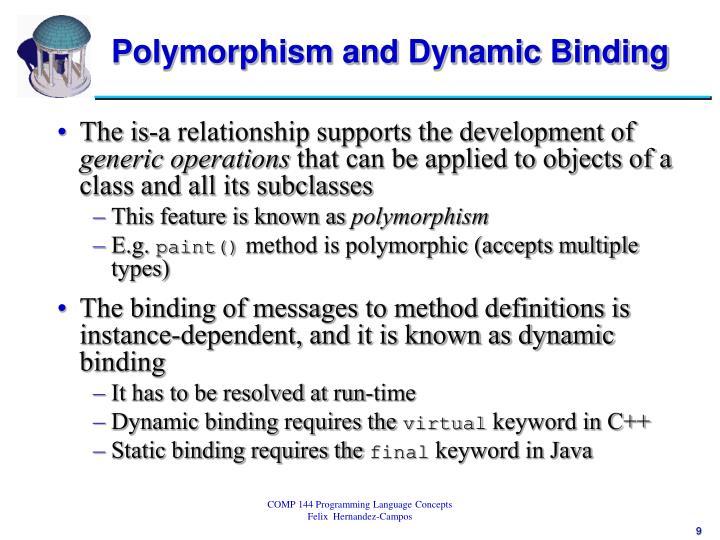 Polymorphism and Dynamic Binding