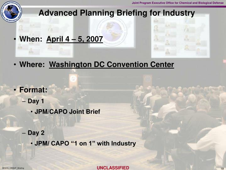 Advanced Planning Briefing for Industry