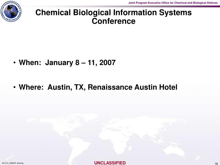 Chemical Biological Information Systems Conference
