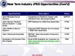 near term industry jpeo opportunities cont d
