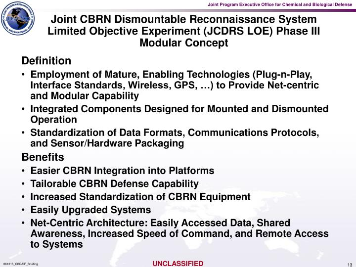 Joint CBRN Dismountable Reconnaissance System Limited Objective Experiment (JCDRS LOE) Phase III Modular Concept