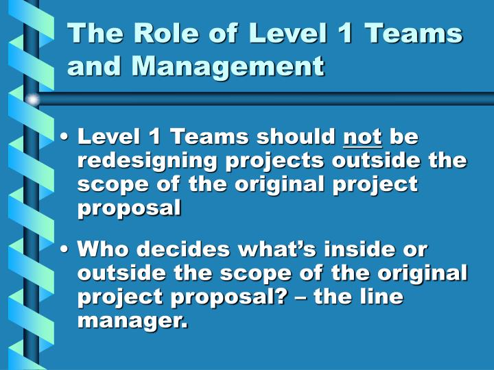 The Role of Level 1 Teams and Management