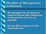 the role of management continued