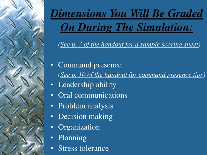 Dimensions You Will Be Graded On During The Simulation: