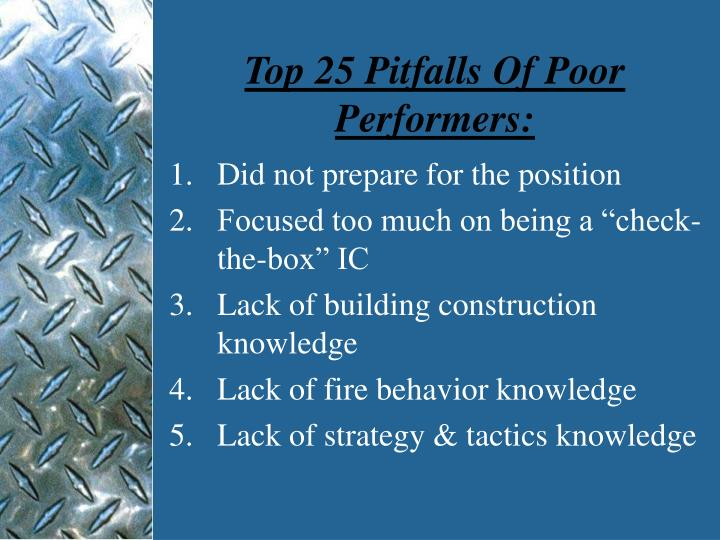 Top 25 pitfalls of poor performers