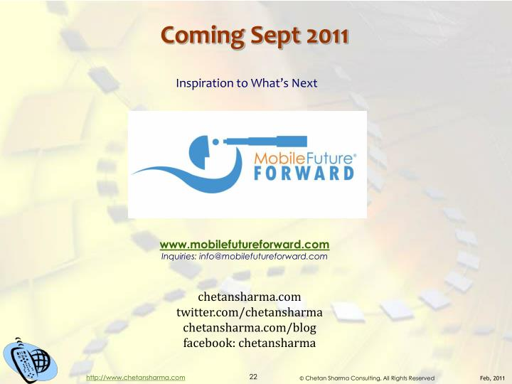 Coming Sept 2011