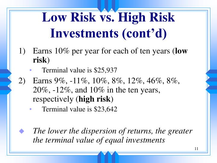 Low Risk vs. High Risk Investments (cont'd)