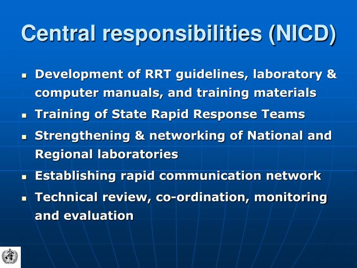 Central responsibilities (NICD)