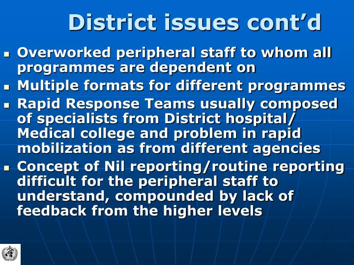 District issues cont'd