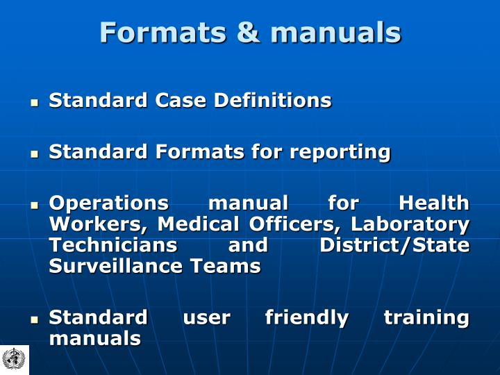 Formats & manuals