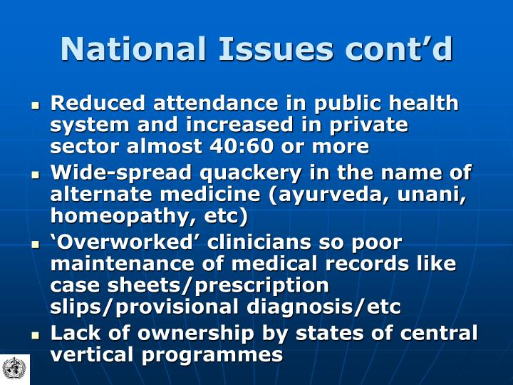 National Issues cont'd