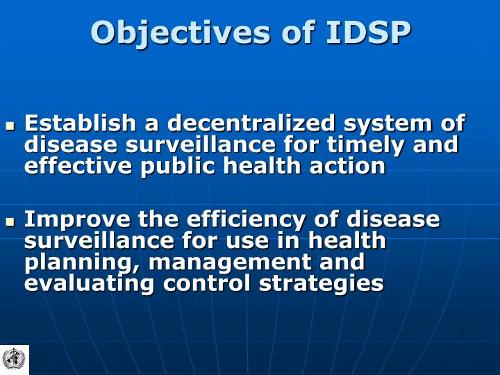 Objectives of IDSP
