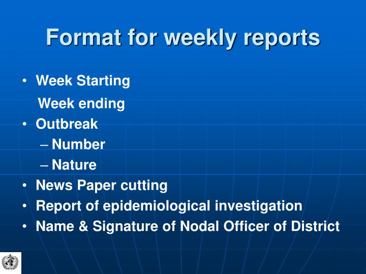 Format for weekly reports