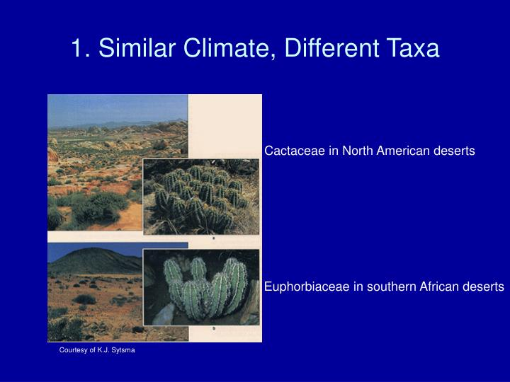 1. Similar Climate, Different Taxa