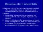 disjunctions a bur in darwin s saddle