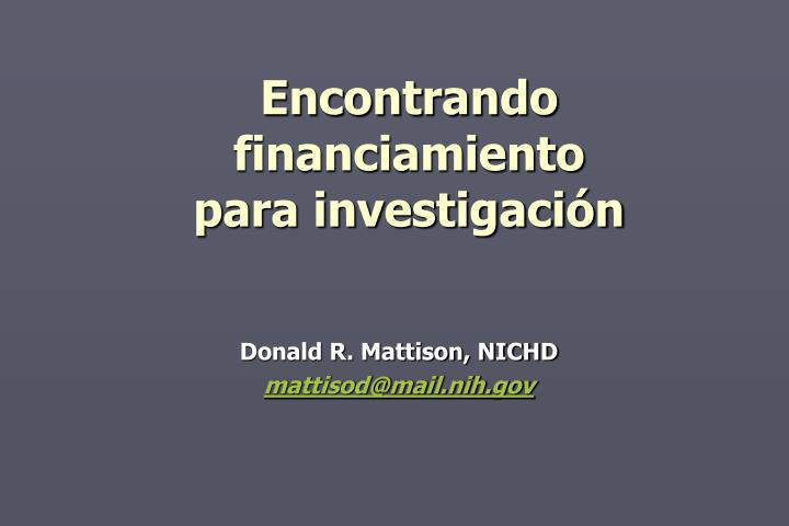Encontrando financiamiento para investigaci n