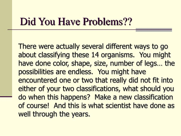 Did You Have Problems??