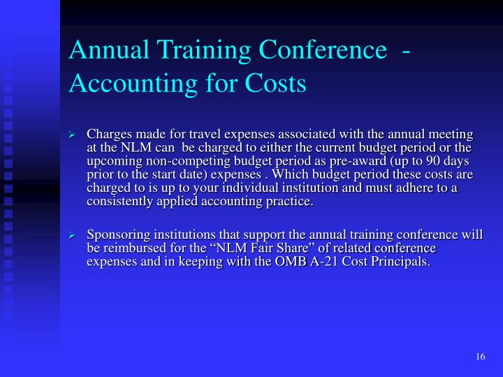 Annual Training Conference  - Accounting for Costs