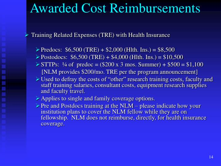 Awarded Cost Reimbursements